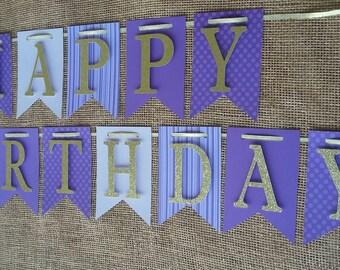 Purple & Gold Birthday Banner, Sophia the 1st Inspired Banner, Girl Birthday Banner, Happy 1st Birthday Banner,  Purple Birthday Banner