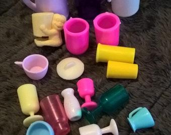 Large assorted lot of vintage Barbie cups, glasses, pitchers, Twenty pieces!