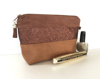 Chocolate Suede leather and fabric glitter makeup Kit