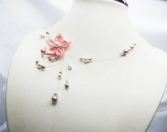 Wedding necklace, necklace wedding white and pink flower satin and swarovski crystal beads