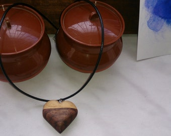 Wooden Heart Pendant Necklace Gift