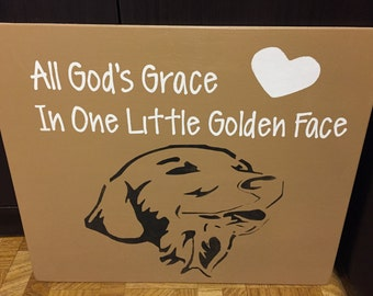Hand painted Golden Retriever sign