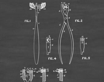 Dentist's Tool Patent - Patent Print, Wall Decor, Dental Office Decor, Medical Art, Dental Art, Dentist Decor, Dental Tools