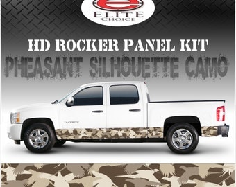 "Pheasant Hunting Silhouette Camo Rocker Panel Graphic Decal Wrap Truck SUV - 12"" x 24FT"