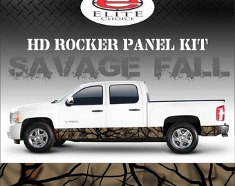 "Savage Fall Camo Rocker Panel Graphic Decal Wrap Truck SUV - 12"" x 24FT"