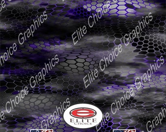 """Chameleon Hex 2 Purple 15""""x52"""" or 24""""x52"""" Truck/Pattern Print Tree Real Camouflage Sticker Roll or Sheet"""