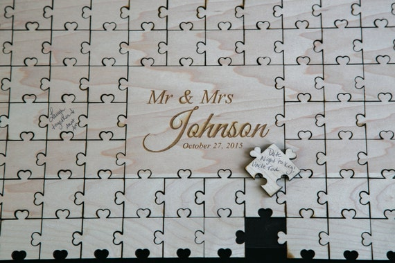 Custom wedding guest book puzzle