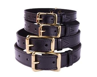 Brass Buckle Dog Collar Black Leather