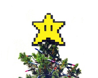 Christmas tree topper. Star Super Mario Bros. 8 bits, pixel. Nintendo. Christmas ornament. Wood. Handmade. Game, videogame, gamer, geek.