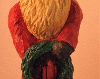 Santa Wood Carving Art Sculpture Hom Decor Collectible Gift