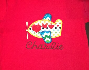 Valentine's Day Airplane with Hearts Embroidered Shirt