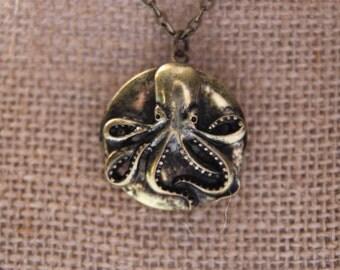 Octopus locket necklace