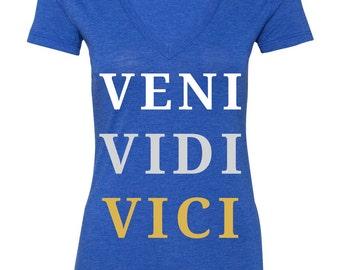 Veni Vidi Vici Atletic Tee - (I Came, I Saw, I Conquered) - Triblend Womens V-Neck T-Shirt - Royal Blue - White, Silver & Gold Lettering