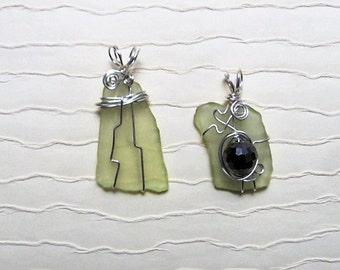 CD#8 2Pendants , Wire wrapped Sea glass, with bead. Hippie Friends Deal!