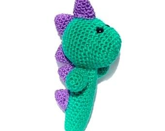 Dinosaur Baby Rattle / Green Dinosaur / Crochet Baby Toy / Baby Dinosaur / Crochet Rattle / Baby Shaker Toy / Dinosaur Toy Maraca