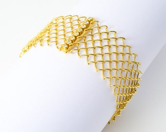 Bracelet • wire mesh • gold • diamonds
