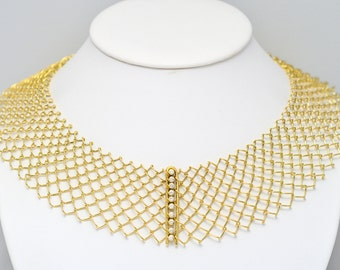 Collier • wire mesh • gold • brilliant • fencing • necklace