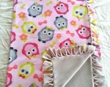 Owl Fleece Tie Blanket, Owl No Sew Blanket, Gray and Pink Owl Fleece Tie Blanket, Owl Knot Blanket