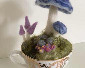 Needle felted Toadstool in a tea cup