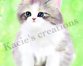 Printable Digital Art Kitten 2 Digital Painting  Wall Art