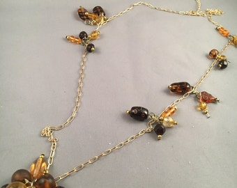 Necklace of Browns, Golds and Dangle Cluster