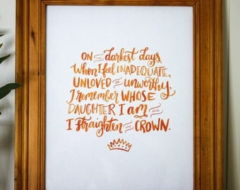 Straighten my Crown (orange) | Hand-Lettered Digital Print