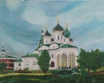 """Original oil painting, """"Russia's unique monasteries"""""""