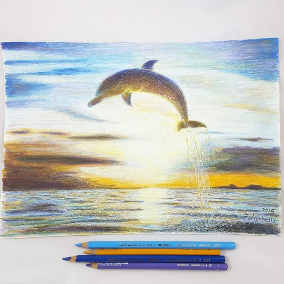 Pencils drawing, jumping dolphin on the sea, original artwork, gift idea for children and boys, bedroom decoration, first communion present.