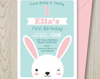 Bunny Rabbit Woodland Party Invitation DIGITAL FILE for kids party, 1st 2nd 3rd 4th 5th girl birthday or Easter - pdf printable - pink, aqua