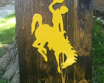 University of Wyoming Cowboys, Cowgirls logo, rustic, reclaimed wood, wall art, home decor, Laramie, WY, Guy Holt, Steamboat, bucking horse