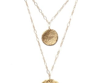 Double Strand Hammered Disc Necklace