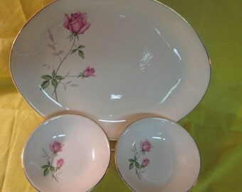 Vintage USA platter and 2 berry bowls with pink roses and green/gray leaves