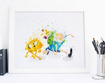 Adventure Time poster Watercolor Adventure Time print Jake and Finn Art Print, nursery wall decor, watercolor print, Adventure Time Poster