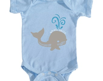 Baby boy whale, hello bodysuit - Baby boy blue onesie