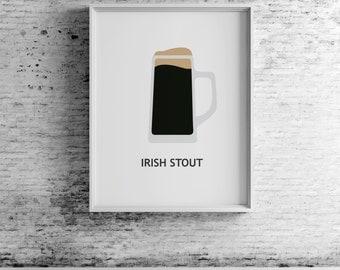 Beer Irish Stout, digital print, beer art, beer print, beer wall art, beer prints, beer poster,  beer decor, beer design, compassionprints