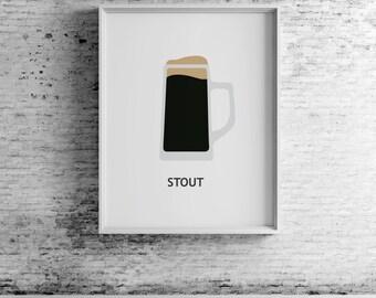 Beer Stout, digital print, beer art, beer print, beer wall art, beer prints, beer poster,  beer decor, beer design, compassionprints