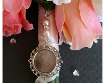 Bridal Bouquet Charm Photo Charm Bridal Memory Charm Round Silver Photo Frame Locket Pendant & Organza  Gift Bag