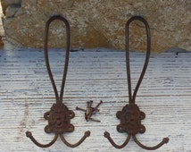Antique French Coat Hooks Pair of Metal Coat Hooks with Mythical North Wind Face 1920s