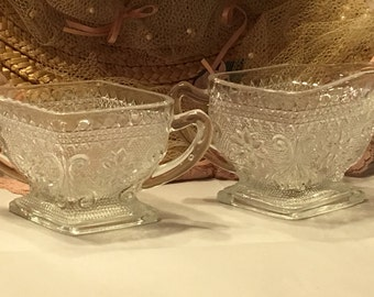 Vintage Pressed Sandwich Glass Sugar And Creamer Set