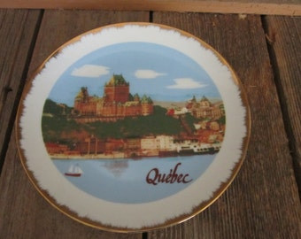 Vintage 1980's decorative Historic Quebec gold trimmed plate collector collection