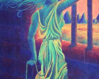 Original Vibrant Colorful Figure Drawing in Oil Pastel