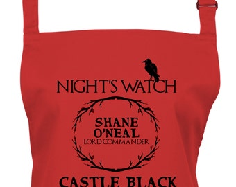 Personalized Game of Thrones Night's Watch Lord Commander Kitchen Apron, Choice of 16 Colours, Baking, - 1035