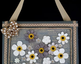 Gray & White Flowers Mixed-Media Painting