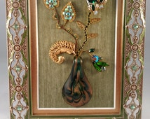 Vintage Framed Jewelry Art, Home Decor, Family Heirloom Art, OOAK Unique, Art Made with Jewelry, Home Accessories, Art Collectibles, Gifts