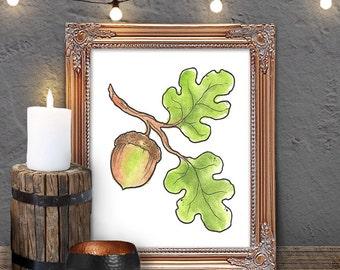Digital Print, Printable Art, Forest Woodland Acorn Watercolor, art print
