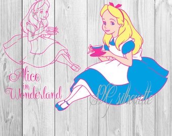 Alice in Wonderland  SVG Cutting file, Clipart, Vector,Vinyl design, Pattern, png, svg,  eps, dxf files for Silhouette, Cricut