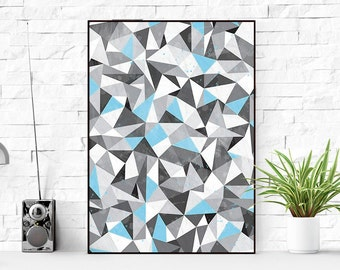 Triangle print, Geometric Print, Triangles Print, Scandinavian Print, Printable Wall Art, Triangle Wall Art, Blue Geometric Print, Geomentic