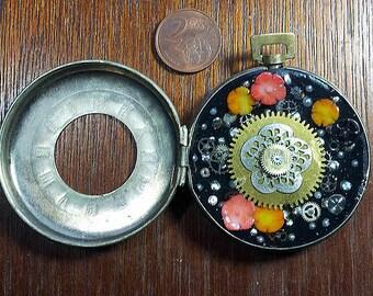 "Steampunk pendant/ pocket watchcase ""the hidden garden"" gears, coral flowers"