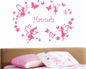 Personalised Fairy Circle Girls Name Butterflies & Flowers Wall Sticker - Art Vinyl Decal Transfer, Childrens Bedroom - by Rubybloom Designs