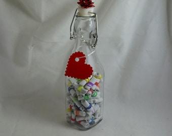 100 Lover Letters scrolls - Miniature scrolls in a bottle